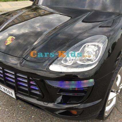 Электромобиль Porsche Macan M999AA черный (резиновые колеса, кресло кожа, пульт, музыка)