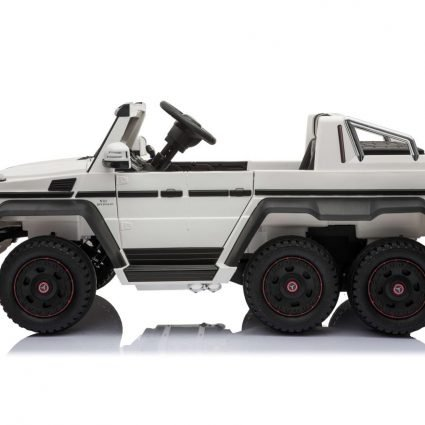 Электромобиль Mercedes-Benz G63-AMG 4WD белый (шестиколесный, привод на 4 колеса, музыка, пульт управления, 2 педали)