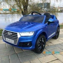 Электромобиль Audi Q7 Sline Luxury HL-159 синий (колеса резина, кресло кожа, пульт, музыка)