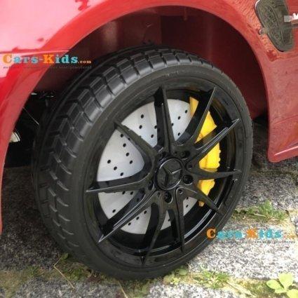 Электромобиль Mercedes Benz GTR AMG красный глянец (колеса резина, кресло кожа, пульт, музыка)